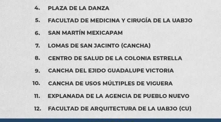 Puntos de aplicación para la segunda dosis de vacuna anticovid para adultos mayores en Oaxaca de Juárez (20:20 h)